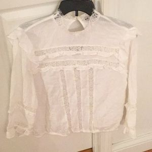 Express lace and linen blouse